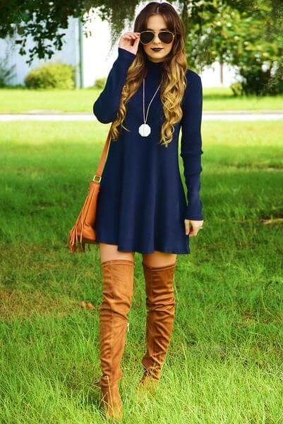 dress with long boots, shoes with skirts, dress with scarf and accessoried