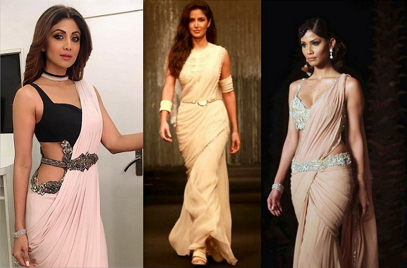 Katrina in saree, Different ways to wear belt with saree, Different styles to wear kamarbandh