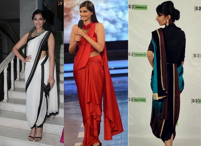 Sonam Kapoor in saree, Sonam in dhoti saree style, Different ways to wear dhoti saree
