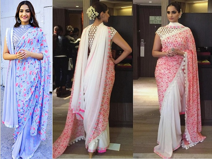 How to drape double saree style, Sonam kapoor in saree, Sonam kapoor in cannes, different ways to wear double saree style, Sonam Kapoor best hairstyles