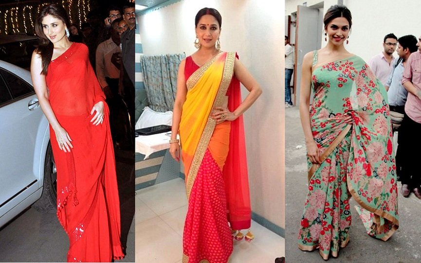 Deepika in saree, Kareena in Saree, Madhuri in Saree