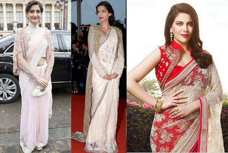 Draping long coat saree style, jacket with saree, Sonam Kapoor in Jacket saree style, saree with over coat