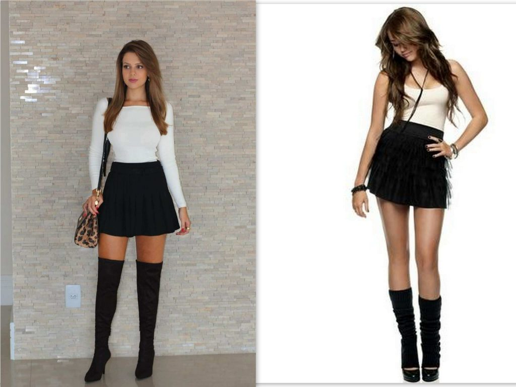 Mini skirts with boots, knee length boots