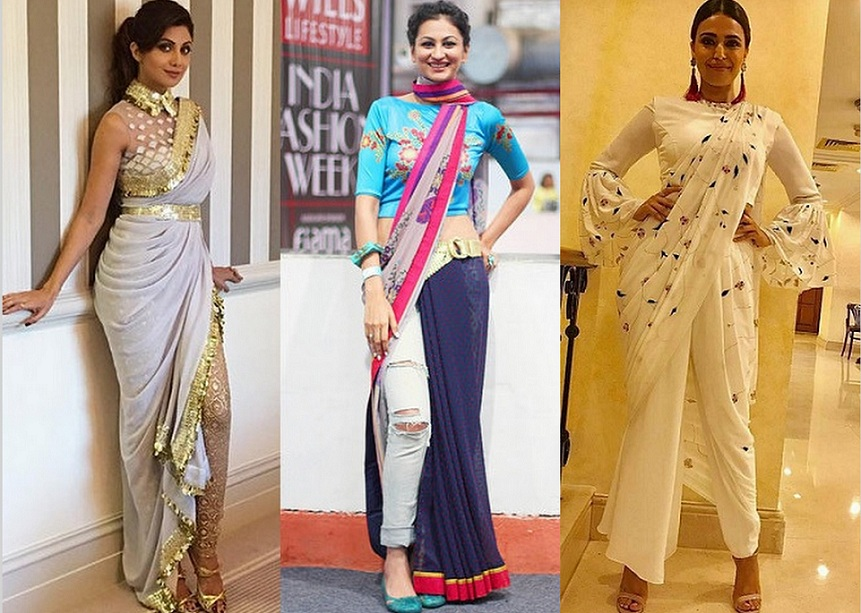 Shilpa shetty in pant style saree, shilpa in saree, Different ways to wear oant style saree